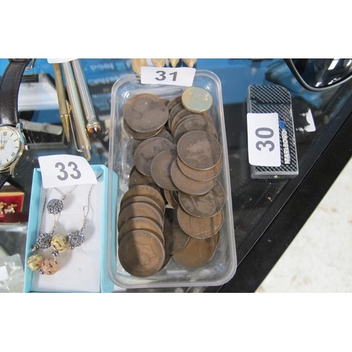 31 - British pennies of varying dates...