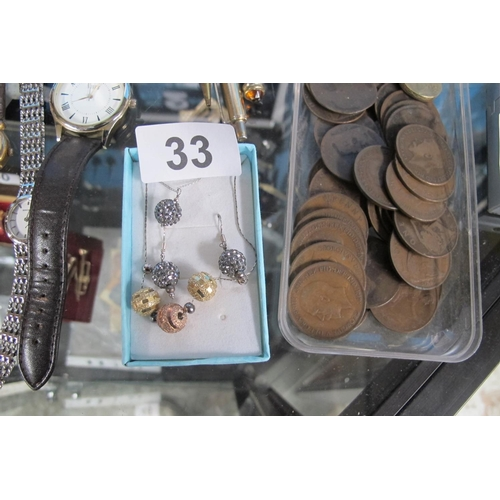 33 - Stamped 925 silver earrings and matching necklace and one other necklace...