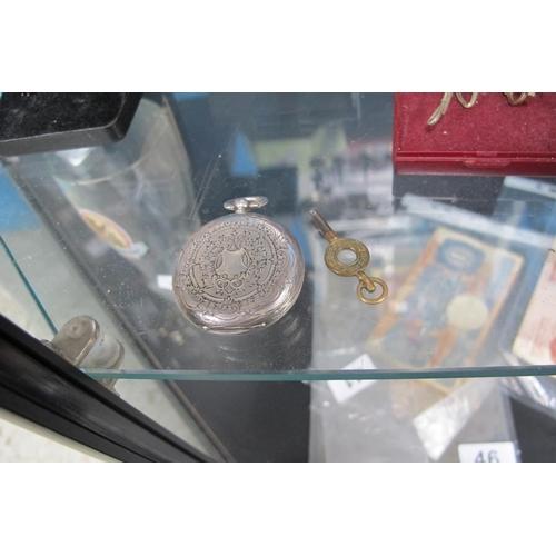 41 - Hallmark stamped silver pocket watch and winder...