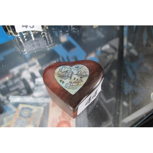 44 - Heart shaped wooden box with hand painted inlaid mother of pearl detail...