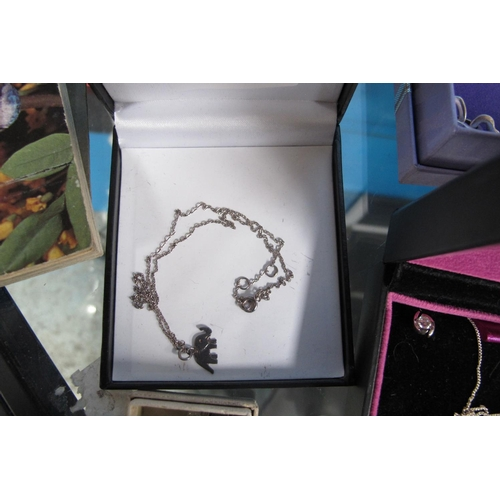 5 - Stamped 925 silver necklace with elephant pendant...