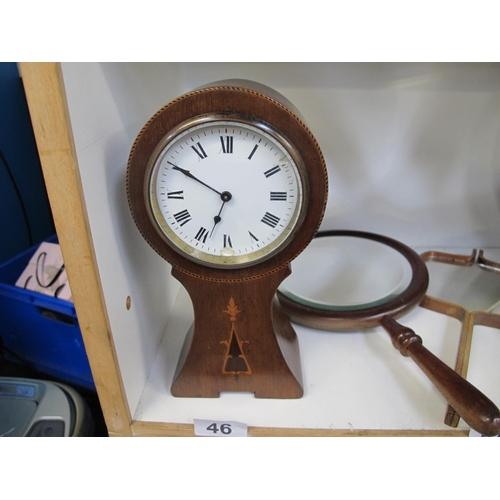 46 - Unusual inlaid wooden clock...