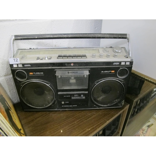 12 - Hitachi portable stereo radio cassette recorder...