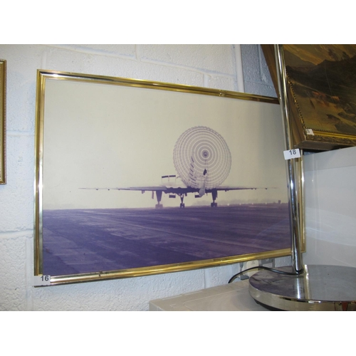 16 - Framed photographic print of plane...