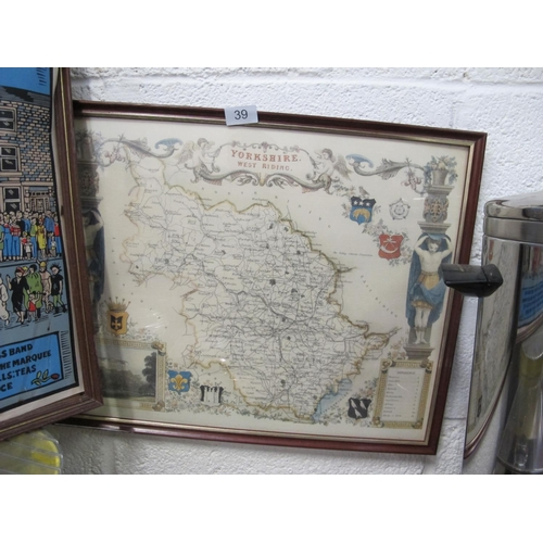 39 - Map of Yorkshire and West Riding...