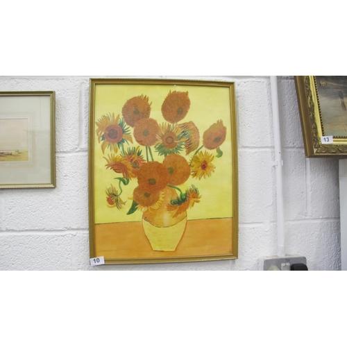 10 - Farmed Vincent van Gogh print of Sunflowers...