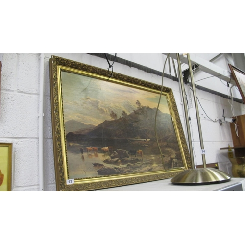 13 - Large framed glossed print...