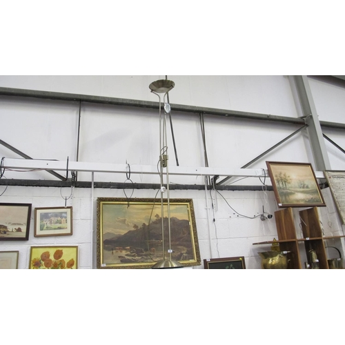 14 - Tall brass coloured uplighter with task lamp...