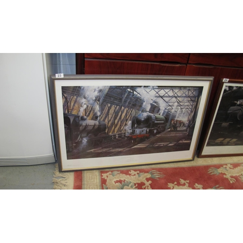 23 - Large framed and glazed railway print...