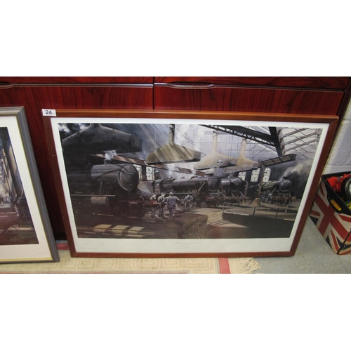 24 - Large framed and glazed railway print...