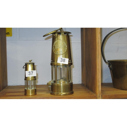38 - A brass miners lamp...