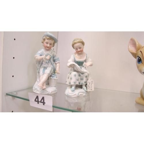 44 - A pair of Dresden figurines by Von Scheiholtz, circa 1860...