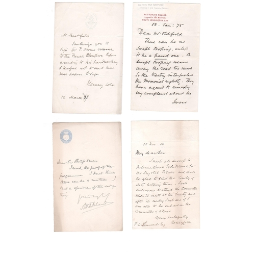 47 - Henry Cole. 1875-80 Letters written and signed by Cole, comprising 1875 (Jan 13) letter on