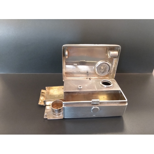 10 - 1872 Hallmarked Silver travelling inkwell (London 1872, maker