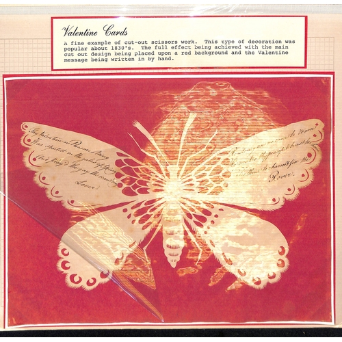 54 - c.1820 Valentines cut from white paper and mounted on a red background in the shape of a butterfly o...