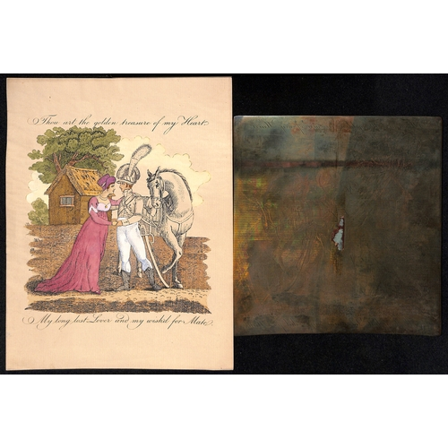 57 - c.1820 Engraved copper printing plates for valentine lettersheets depicting a parting lady and soldi...