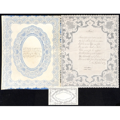 59 - c.1820-50 Valentine lettersheets all with superbly embossed and pierced paperlace borders, an early ...