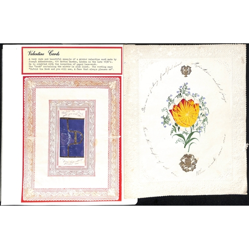 58 - c.1820-30 Valentine lettersheets with printed hand coloured pictures and verses, depicting young lad...