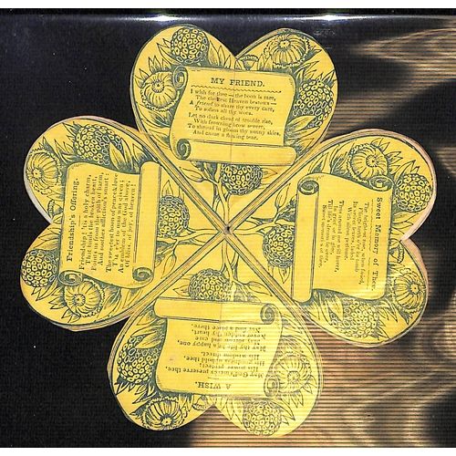 53 - c.1820 Printed handcoloured heart shaped cards with flowers and verses, opening out into a