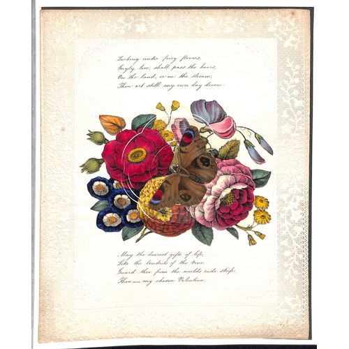 56 - c.1820 Valentine lettersheet with an elaborate embossed and pierced border, central design of flower...