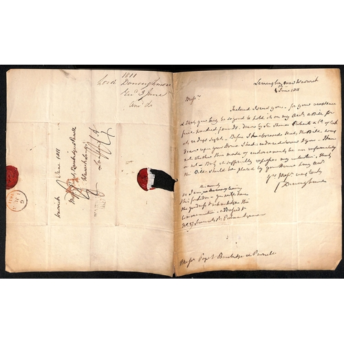 43 - Military / Naval. 1804-53 Letters, documents, etc, including 1805 Half Pay document signed by H. Dun...