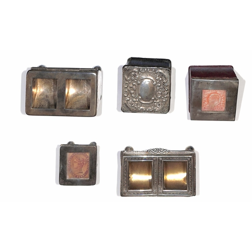 2 - Silver / Leather. 1899-1905 Silver or leather stamp boxes all with silver lids with glass covered sq...