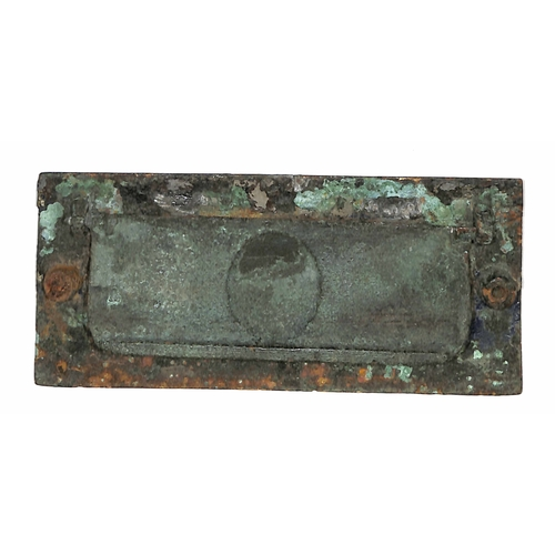 13 - Letter Box. c.1860 Metal Safety Letter Box, Queen Victoria's head embossed in the centre with