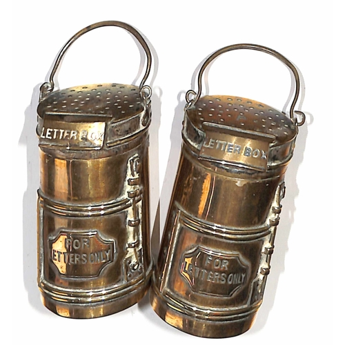 11 - c.1900 Novelty Salt and Pepper Pots in the shape of letter boxes, well made from brass coloured meta...