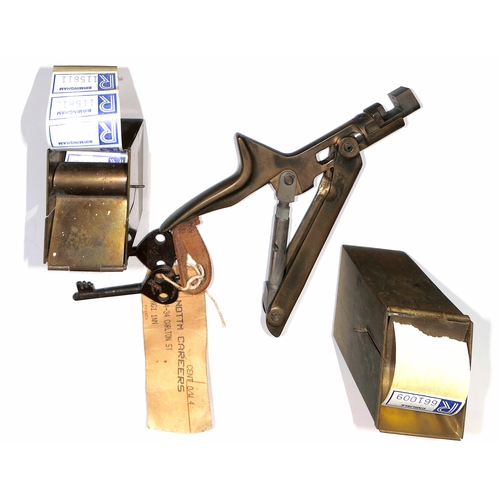 15 - Two brass G.P.O registration label dispensers made by Bladon of Birmingham, for dispensing labels fr...