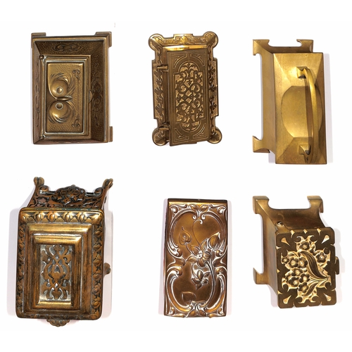 4 - Brass / Metal. Large brass (or brass coloured) metal desk boxes with decorated lifting lids, one to ...