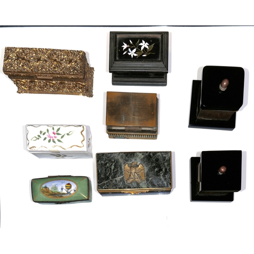 7 - Stamp boxes made from Agate inlaid into wood, marble (faults), bone, ivory, mother of pearl (2, one ...