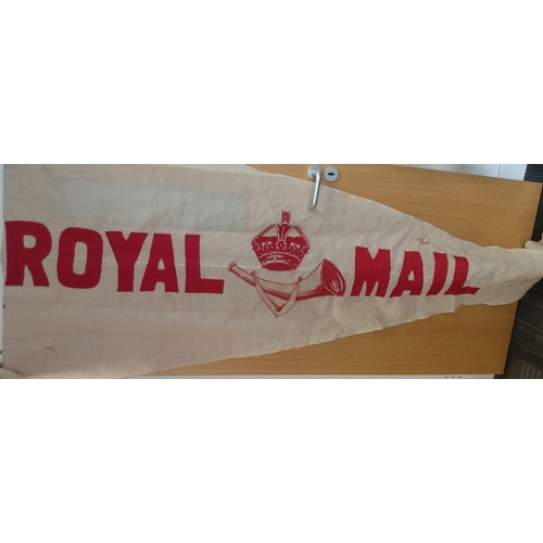 16 - Two linen pennants with a Crown and Posthorn and