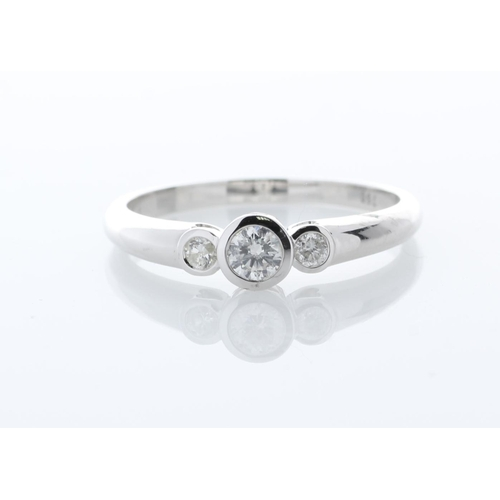 28 - Valued by GIE œ3,250.00 - 18ct Three Stone Rub Over Set Diamond Ring 0.33 Carats - 3136004, Colour-D...