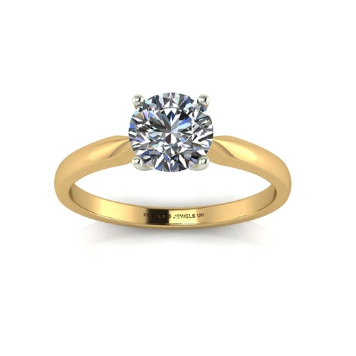 2 - Valued by AGI œ1,538.00 - 18ct Yellow Gold Single Stone Claw Set Diamond Ring H VS 0.25 Carats - 110...