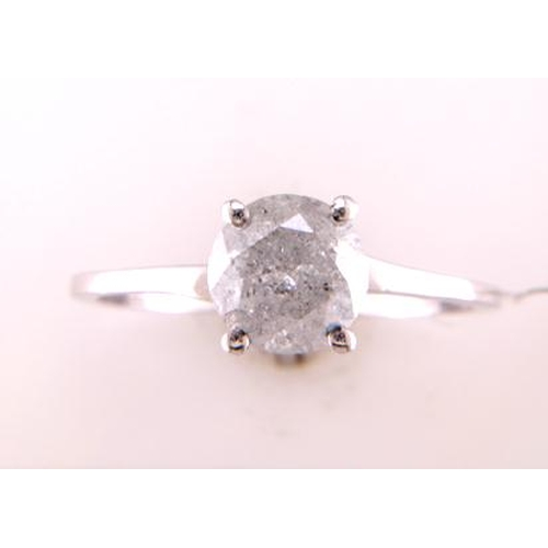 43 - Valued by GIE œ14,850.00 - 18ct White Gold Single Stone Wire Set Diamond Ring 1.27 Carats - 3102152,...