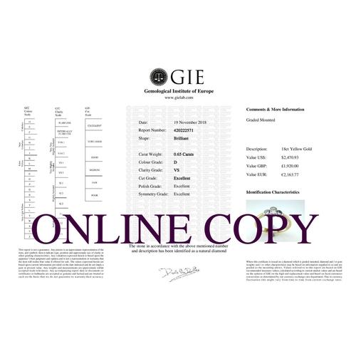 5 - Valued by GIE œ1,920.00 - 18ct Single Stone  Rub Over Set Fancy D-Shape Shoulder Diamond Ring 0.17 C...
