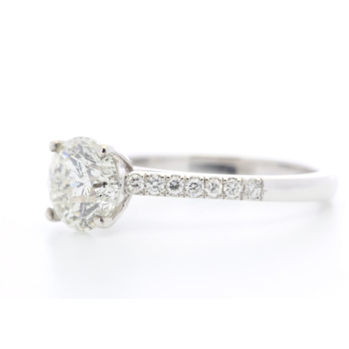 59 - Valued by GIE œ49,750.00 - 18ct White Gold Single Stone Claw Set With Stone Set Shoulders Diamond Ri...