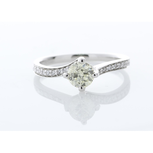 60 - Valued by GIE œ8,825.00 - 18ct White Gold Single Stone with Diamond set Shoulders Ring 0.72 Carats -...