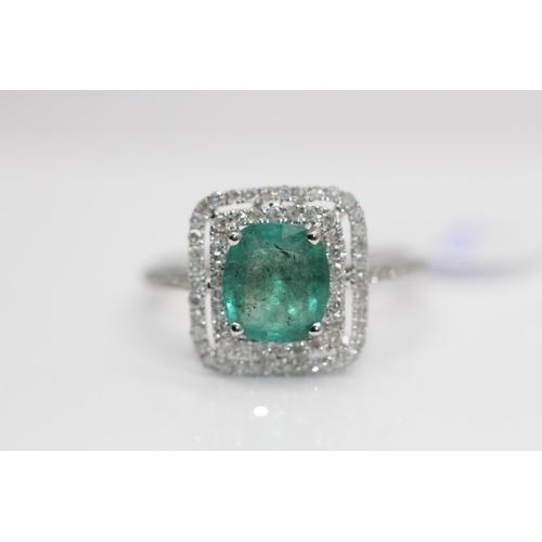 7 - ***£3570.00*** 9CT WHITE GOLD LADIES EMERALD AND DIAMOND RING, EMERALD WEIGHT- 1.40CT, DIAMOND WEIGH...
