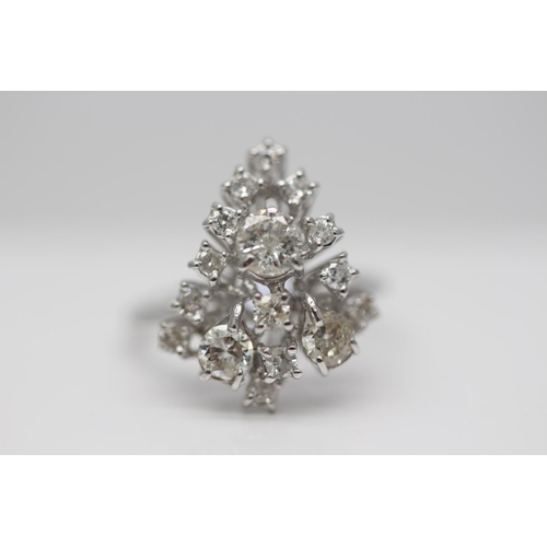 15 - ***£4500.00*** WHITE GOLD LADIES DIAMOND CLUSTER RING, SET WITH 1.50 CARATS OF BRILLIANT CUT DIAMOND...