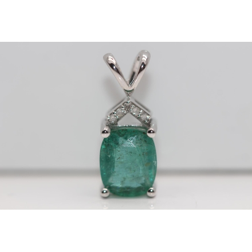 31 - ***£3325.00*** 9CT WHITE GOLD LADIES EMERALD AND DIAMOND PENDENT, EMRALD WEIGHT- 1.60CT, DIAMOND WEI...