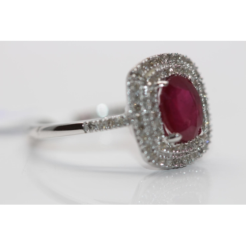 49 - ***£2881.00*** 9CT WHITE GOLD LADIES DIAMOND AND RUBY CLUSTER RING, SET WITH 0.33CT DIAMONDS, CLARIT...