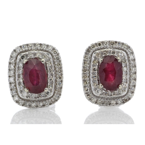 14 - Valued by GIE œ2,975.00 - 14ct White Gold Oval Diamond And Ruby Cluster Diamond Earring 0.35 Carats ...