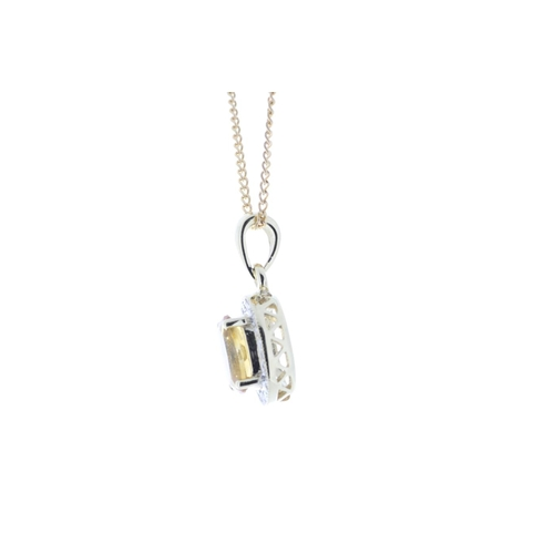 46 - Valued by GIE œ1,409.00 - 9ct Yellow Gold Diamond And Citrine Pendant 0.11 Carats - 7380008C, Colour...