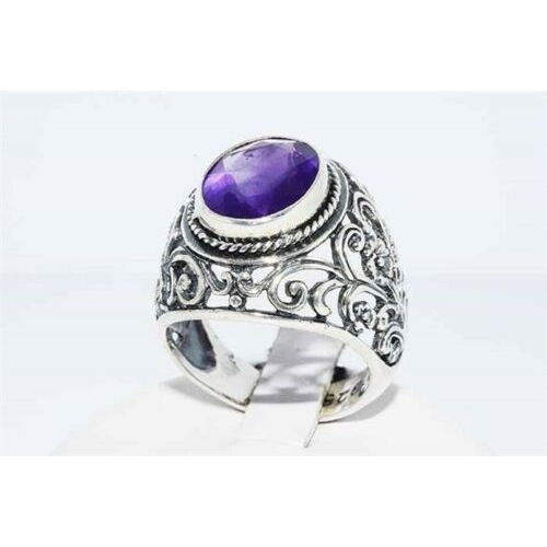 8 - 5.10CT NATURAL SOLITAIRE PURPLE AMETHYST SILVER RING SIZE 7.25 NATURAL PURPLE AMETYST 5.10CTS   COLO...
