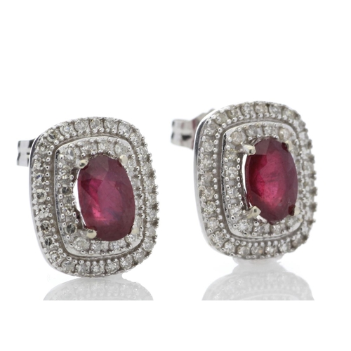 14 - Valued by GIE ?2,975.00 - 14ct White Gold Oval Diamond And Ruby Cluster Diamond Earring 0.35 Carats ...