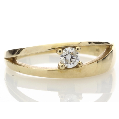 19 - Valued by GIE ?1,080.00 - 9ct Yellow Gold Single Stone Claw Set Diamond Ring 0.18 Carats - 7106005, ...