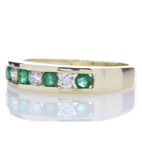 26 - Valued by GIE ?2,635.00 - 9ct Yellow Gold Channel Set Semi Eternity Diamond And Emerald Ring 0.25 Ca...