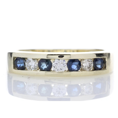 27 - Valued by GIE ?2,635.00 - 9ct Yellow Gold Channel Set Semi Eternity Diamond Ring 0.25 (Sapphire) Car...