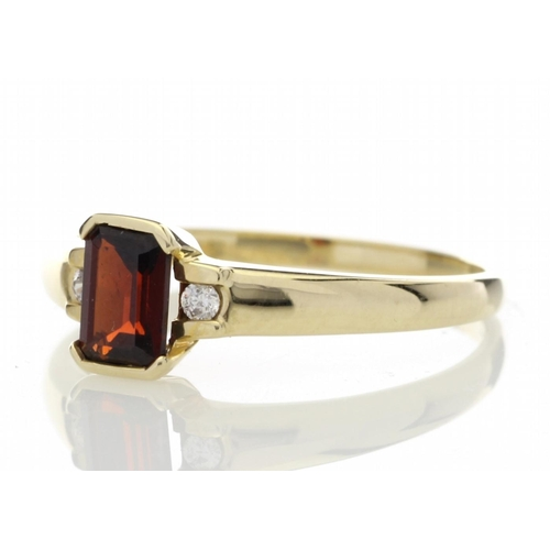 28 - Valued by GIE ?1,012.00 - 9ct Yellow Gold Emerald Cut Garnet Diamond Ring 0.05 Carats - 7180004G, Co...